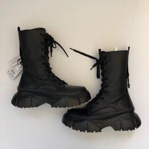 Zara Lug Sole Black Leather Zip Combat Boot 36